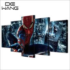 online get cheap spiderman live aliexpress com alibaba group 5 pieces spiderman painting canvas wall art picture home decor living room canvas print modern painting