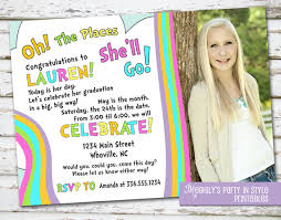 oh the places you ll go graduation invitation with photo by