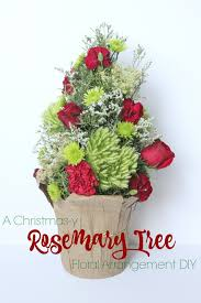 eat sleep make a christmas y rosemary tree floral arrangement diy