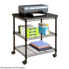 Wire Shelf Cart Deskside Wire Machine Stand Black Safco Products
