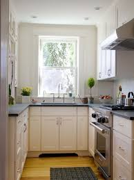 small modern galley kitchen design with white cabinets decorating