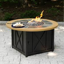 Slate Firepit Lp Gas Pit Bowl With Slate And Faux Wood Mantel