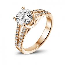solitaire rings gold images Red gold diamond engagement rings 1 20 carat baunat jpg
