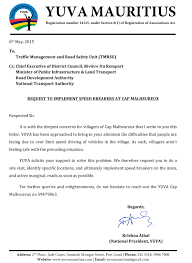 Break Letter Hindi letter request to implement speed breakers at cap malheureux