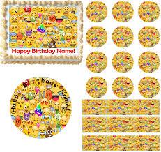emojis collage emoticons edible cake topper image emoji