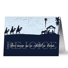 personalized away in a manger nativity cards