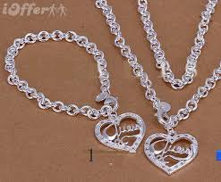 silver jewellery necklace sets images 925 silver jewelry guess heart necklace bracelet sets for sale jpg