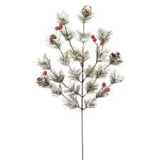 18 inch artificial snowy monterey pine spray with berries l139503