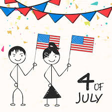 4th Of July Bunting Decorations Cartoon Of Kids Holding American National Flags On Bunting