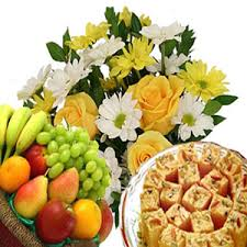flowers and fruits send flowers with fruits n soan papdi to india