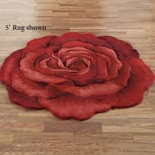 Sculptured Rugs And Carpets Raelyn Red Rose Flower Shaped Rugs