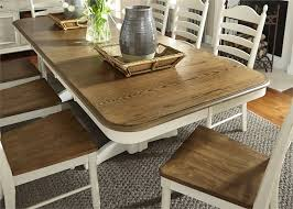 two tone dining table set the popular double pedestal dining table set property designs villa