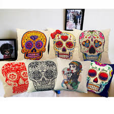 furniture painting throw pillow ideas for decorative sofa full size of white linen cotton cushions multi color painting skulls design idea for halloween living