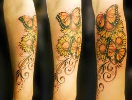 bright and cheery butterflies and sunflowers butterfly tattoo
