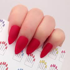 set of 20 pcs matte red hand painted nail tips press on stick