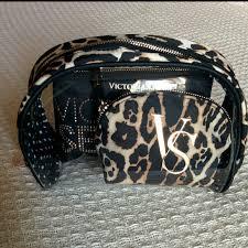 victoria s secret accessories vs leopard cosmetic bag trio