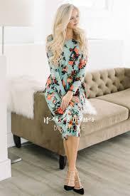 mint rose spring floral pocket modest dress best online modest