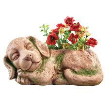 amazon com moss sleeping dog planter beige patio lawn u0026 garden