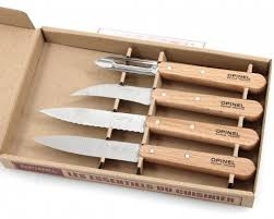opinel kitchen knives opinel kitchen knife set 4 sandvik stainless steel beech