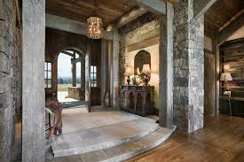 front entrance foyer entry rustic with wood trim post and beam