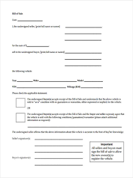 Blank Bill Of Sale Form For Car by 6 Vehicle Bill Of Sale Form Samples Free Sample Example Format