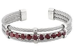 garnet sterling silver bracelet images Red garnet sterling silver cuff bracelet 6 00ctw docx286 jpg