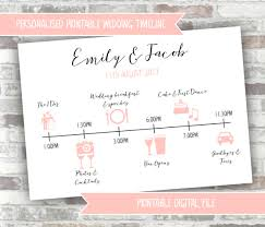 Wedding Itinerary Printable Digital File Personalised Wedding Timeline