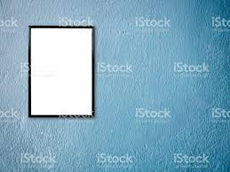 poster frame on blue paint wall background stock photo 836205108