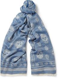 alexander mcqueen skull print cotton blend scarf where to buy