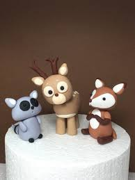 woodland animals baby shower birthday fondant cake topper