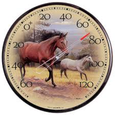 acurite 12 5 in galloping horses analog thermometer 01839 the
