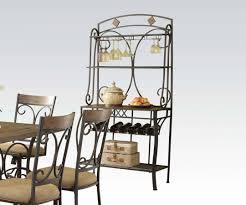 Metal Bakers Rack With Wine Storage Furniture Simple Metal Bakers Rack With Understated Look Fits
