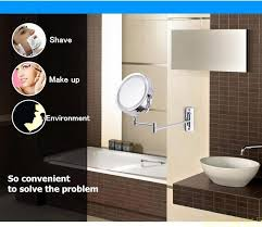 Bathroom Mirrors Houston 7 Inch Dual Arm Extend Bathroom Mirror With Battery Led Light 2