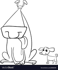 coloring page of a big dog big and small dogs coloring page royalty free vector image