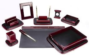 Office Desk Sets Majestic Goods Nine Burgundy Oak Wood Desk Set
