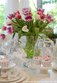 Easter Table Decorations Design by Easter Tulip Centerpiece In Pottery Barn Knock Off Double Bowl Vase