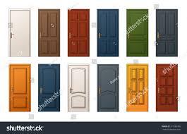 Wooden Door 12 Colorful Wooden Doors Templates Collection Stock Vector