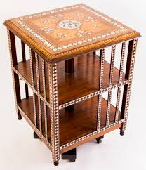 Revolving Bookcase Table Antique Syrian Inlaid Revolving Bookcase C 1880