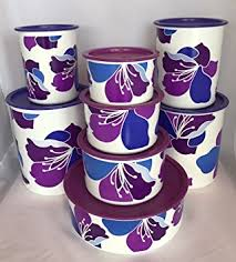 purple canisters for the kitchen tupperware purple blossoms one touch complete