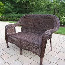Wicker Patio Furniture Lowes - shop oakland living resin cushion coffee wicker loveseat at lowes com