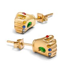 stud earrings images marvel infinity gauntlet stud earrings thinkgeek