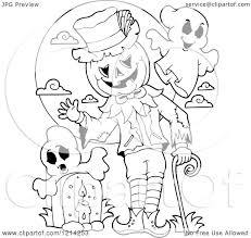 graveyard clipart clipart of an outlined waving halloween jackolantern man with