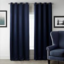 Navy Window Curtains Sunnyrain 1 Navy Blue Solid Color Blackout Curtain For