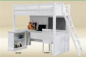 white wood loft bed with desk open travel
