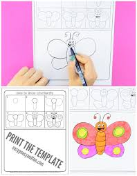 how to draw a butterfly by for printable easy
