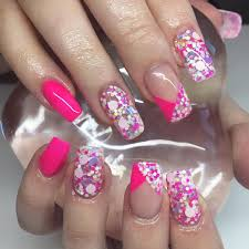 pics photos nail art gallery neon bright pink flowers with black