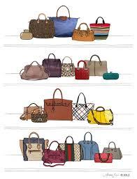 designer dream purse and handbag closet illustration giclee art