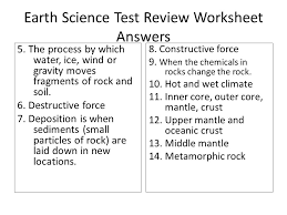 earth science test review worksheet answers 30 points ppt