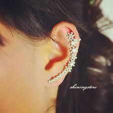 ear cuff piercing diamond ear cuffs sapphire ruby rhinestone ear cuff left ear