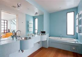 Light Blue Bathroom Ideas by White Washbowl In Floating Wooden Cabinet Door Small Rectangle